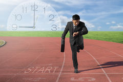 Business competition concept on track Motivation and Success. Business competition concept on track. Motivation and Success with start up business Stock Photography
