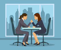 Business competition concept . Two businesswoman, employee arm wrestling in the office vector illustration. Business competition concept . Two businesswoman Royalty Free Stock Images