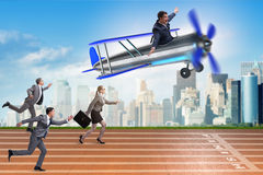 The business competition concept with vintage plane Stock Photography