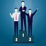 Business Competition Concept. Winner Businessman. Vector illustration. Business competition concept. Champion businessmen on podium. Happy team winner Royalty Free Stock Images