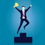Business Competition Concept. Winner Businessman. Vector illustration. Business competition concept. Champion businessman receive trophy on podium. Happy first Stock Images