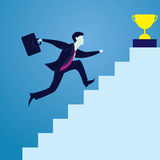 Business Competition Concept. Winner Businessman. Vector illustration. Business competition concept. Businessman running climbing stairs to get trophy of success Royalty Free Stock Images