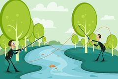 Business Competition. Easy to edit vector illustration of businessmen fishing competitor's business Stock Photos