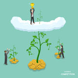 Business competition isometric flat vector concept. Businessmen grow their business to get winner cup. Making investments, business growing,  financial Stock Photo