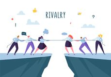 Business Competition, Rivalry Concept. Flat Business People Characters Pulling Rope. Corporate Conflict. Vector illustration stock illustration