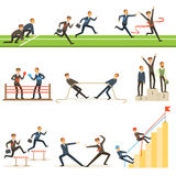 Business Competition Set Of Illustrations With Businessman Running And Competing In Sports Royalty Free Stock Images