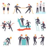 Business Competition Set, Rivalry Between Colleagues, Office Workers Challenging Vector Illustration. On White Background royalty free illustration