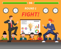 Business Competition Symbols Fight Banner. Competitive business ideas fight for success symbolic flat poster for creative companies managers abstract Stock Image
