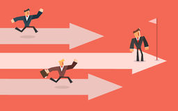 Business competition. Three business persons racing on the arrows. Leader concept. Stock Images