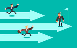 Business competition. Three business persons racing on the arrows. Leader concept. Vector illustration Stock Photo