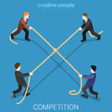 Business competition tie rope flat 3d isometric vector. Business competition tie flat 3d isometry isometric concept web vector illustration. Businessmen tug-of Stock Images