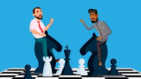 Business Competition Vector. Two Businessmen Riding Chess Horses Black And White To Meet Each Other. Illustration vector illustration