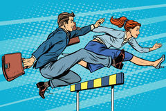 Business competition woman and man running. Pop art retro style. Running hurdles. Sport and business Royalty Free Stock Images