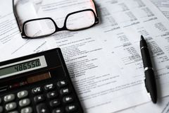 Business composition. Financial analysis - income statement, business plan stock photography