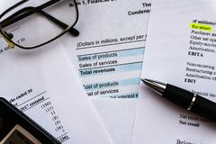 Business composition. Financial analysis - income statement, business plan stock photo