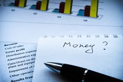 Business composition. Financial analysis - income statement, business plan royalty free stock images