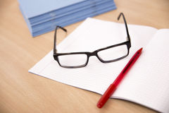 Business composition with laptop glasses and pen Royalty Free Stock Photo
