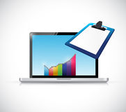 Business computer and clipboard illustration vector illustration