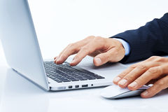 Business Computer Hands Marketing. A businessman typing on a laptop computer Royalty Free Stock Photos