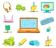 Business Computer Icons Set. Of mobile notebook data medium and wireless network router hand drawn  vector illustration sketch Stock Photos