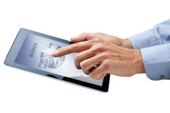 Business Computer Ipad Tablet Hands. A computer ipad tablet with a hand touching a touchscreen with a business pie chart royalty free stock photography