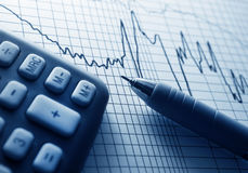 Business concept. Analyzing financial diagram Stock Image