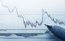 Business concept. Analyzing financial diagram Royalty Free Stock Image
