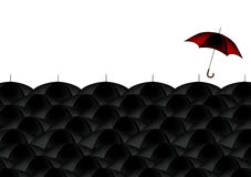 Business Concept. A Business Concept illustration of a red umbrella amongst black umbrellas Stock Photography