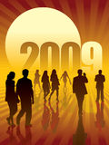 Business concept 2. People are going to the sun and the New Year 2009 Vector Illustration