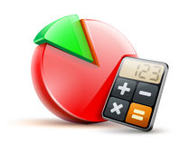 Business concept. Vector illustration of business concept with calculator icon and finance cake diagram Stock Photos