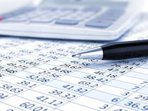 Business concept. Business background, market analysis concept with financial data, pen and calculator Stock Image