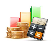 Business concept. Vector illustration of business concept with finance graph, calculator and stacks of golden coins Royalty Free Stock Image