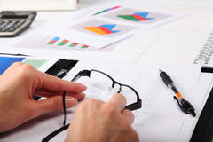 Business Concept. Businesswoman, Office and Document Stock Images