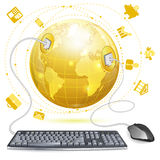 Business Concept. Mouse and Keyboard Connected to Earth with Finance Icons, vector illustration isolated on white background Royalty Free Stock Images