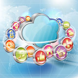 Business Concept. With Cloud and Application icons flying around on abstract background, vector Stock Photography