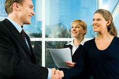 Business concept. Successful handshake of confident business people making a deal stock photos