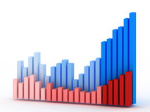 Business concept. A business graph one in blue and the second in red Stock Illustration