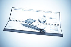 Business concept. Notebook,calculator and pen Stock Images