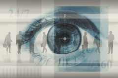 Business Concept. Abstract business montage concept design, including layers silhouettes of businesspeople, a large closeup of an eye and the numbers 24/7 and // Stock Images