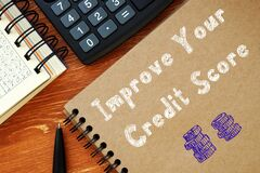 Free Business Concept About Improve Your Credit Score With Inscription On The Sheet Stock Photo - 189636200