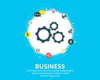 Business concept. Abstract background with connected gears and icons for strategy, service, analytics, research, seo. Digital marketing, communicate concepts Royalty Free Stock Photos