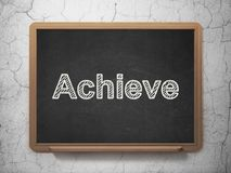 Business concept: Achieve on chalkboard background. Business concept: text Achieve on Black chalkboard on grunge wall background, 3D rendering Stock Photo