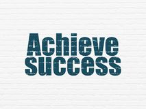 Business concept: Achieve Success on wall background. Business concept: Painted blue text Achieve Success on White Brick wall background Royalty Free Stock Image