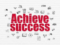 Business concept: Achieve Success on wall background. Business concept: Painted red text Achieve Success on White Brick wall background with  Hand Drawn Business Stock Photos