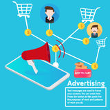 Business concept advertising online marketing. Vector design smartphone advertising marketing direction shopping online Royalty Free Stock Photography