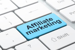 Business concept: Affiliate Marketing on computer. Business concept: computer keyboard with word Affiliate Marketing, selected focus on enter button background Royalty Free Stock Images