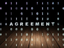Business concept: Agreement in grunge dark room. Business concept: Glowing text Agreement in grunge dark room with Wooden Floor, black background with Binary Stock Images