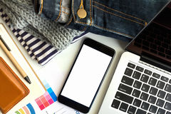 Business concept area work have laptop, chart and smartphone. Royalty Free Stock Images