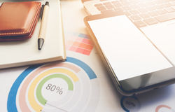 Business concept area work have laptop, chart and smartphone. Selective focus Royalty Free Stock Photos
