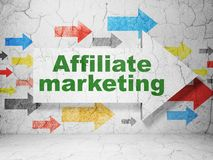 Business concept: arrow with Affiliate Marketing on grunge wall background. Business concept:  arrow with Affiliate Marketing on grunge textured concrete wall Royalty Free Stock Photography